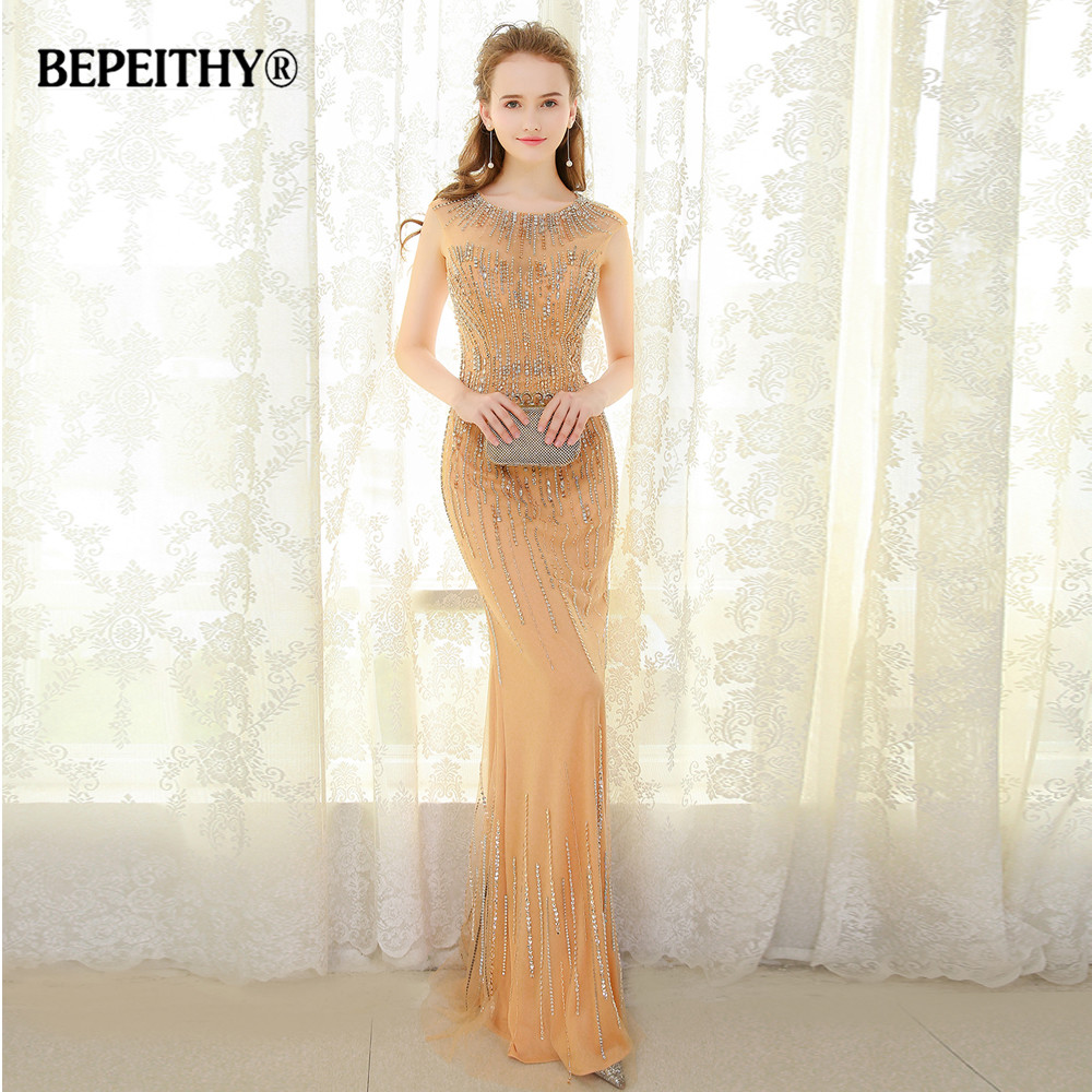 BEPEITHY Sexy Mermaid Long   Evening     Dress   With Crystals Vestido De Festa Floor Length Cap Sleeves Luxurious Gold Prom Gowns 2019