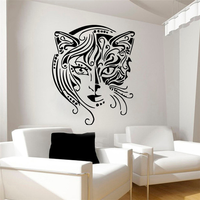 creative design home decor cat women wall sticker living room