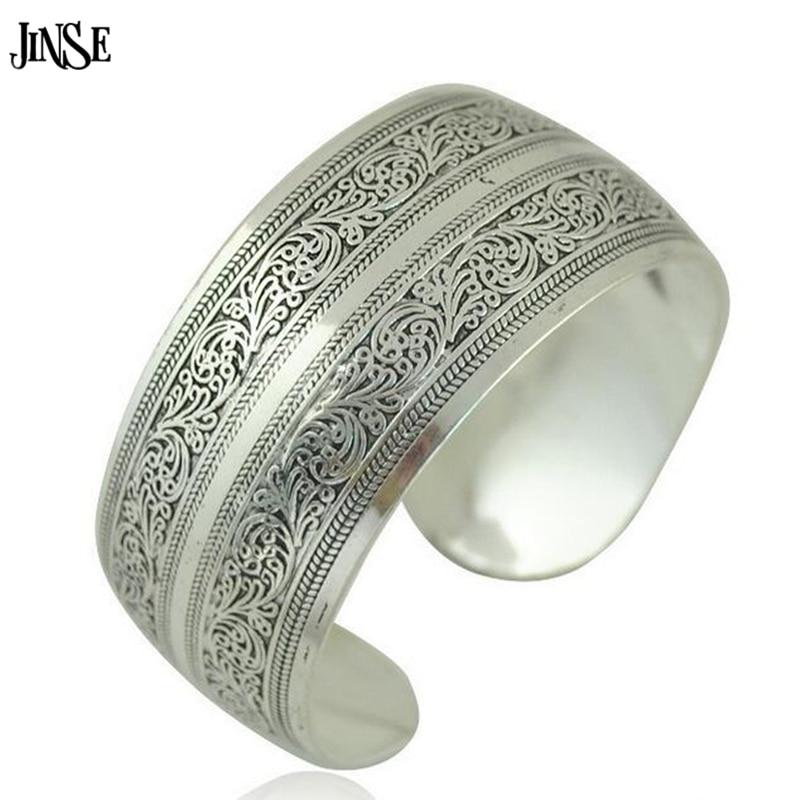 JINSE BGL036 boho antic silver cuff copper wide bangle bohemia antalya flower carve pattern statement bangle