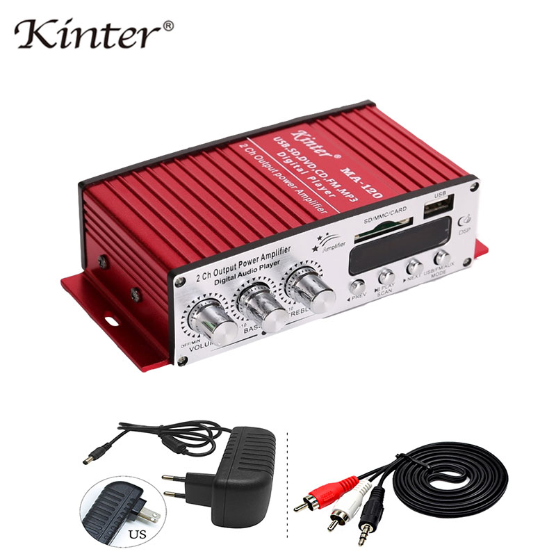 Kinter MA-120 Mini Amplifiers Audio Hifi Stereo Sound Amplifier Bluetooth 2.0 Channels  SD USB Input FM Radio In Home Car