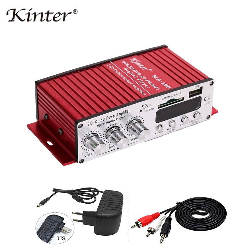 Kinter MA-120 Mini Amplifiers Audio Hifi Stereo Sound Amplifier Bluetooth 2.0 Channels  SD USB Input FM Radio In Home Car