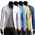 2014 terno masculino color block fluid material fino um botão casuais terno masculino