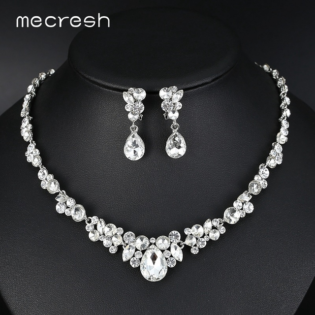 Mecresh Silver Color Rhinestone Bridal Jewelry Sets Clic Teardrop Crystal Wedding Necklace European Party