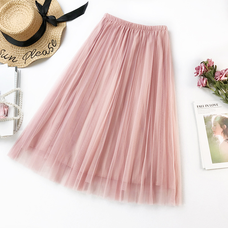 2019 New Summer High Waist Pleated Midi Skirt Solid Color Mesh Skirt Women Korean Basic A-Line Tulle Skirts faldas saias jupe