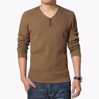 2016 Autumn Winter New Arrival Mens Sweater Fashion V Neck Solid Pullover Sweater Men Casual Slim