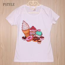 Original PSTYLE Summer t-shirt for Women Sweet Ice Cream Donut Print t shirt Short Sleeve Girls tshirt