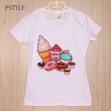 цены на Original PSTYLE Summer t-shirt for Women Sweet Ice Cream Donut Print t shirt Short Sleeve Girls tshirt  в интернет-магазинах