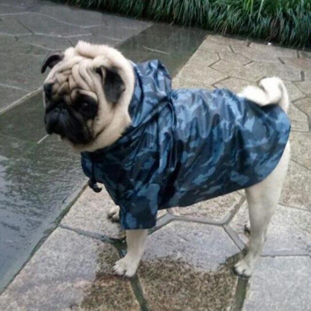 Камуфляжный дождевик для больших собак Водонепроницаемый Одежда для маленьких и крупных собак с капюшоном плащ-дождевик панель в форме французского бульдога золотистый Лабрадор-ретривер