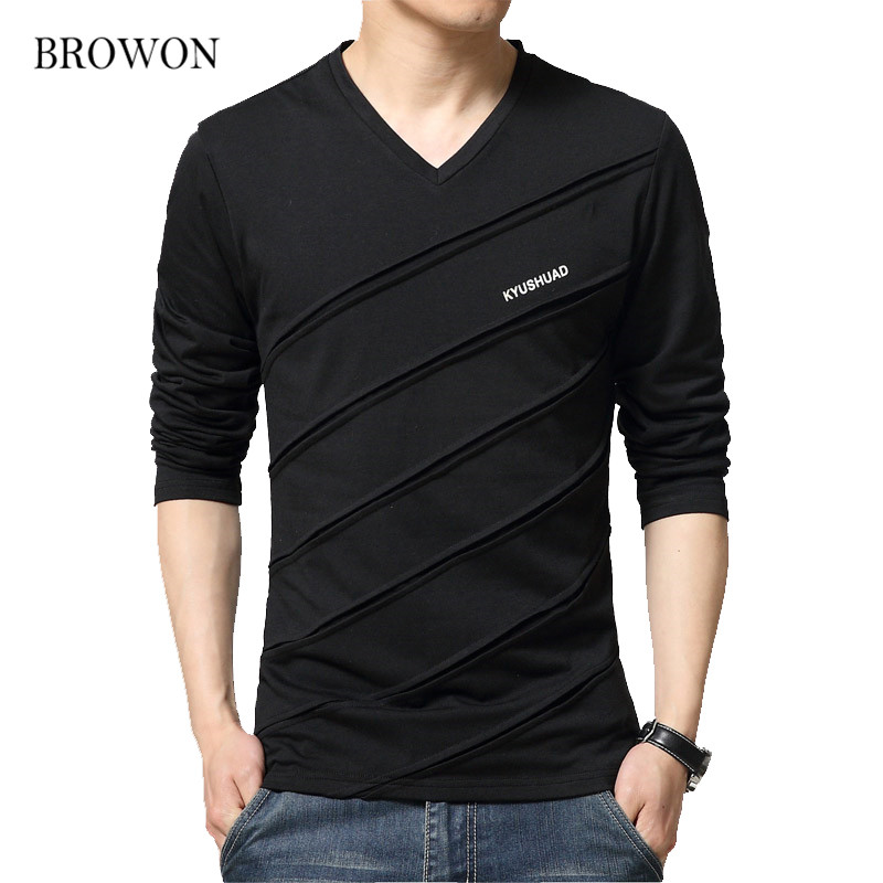 BROWON Fashion Trend Autumn   T     Shirt   Men V Collar Long Sleeve   T  -  Shirt   Large Size Slim Fit Cotton Tops Tees Camisetas Male