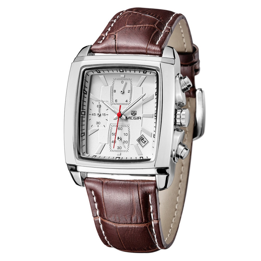 MEGIR2711 Luxury Brand Date Leather Watch Men Multi function Chronograph Square Business Quartz Wirstwatch 3Eye 3ATM