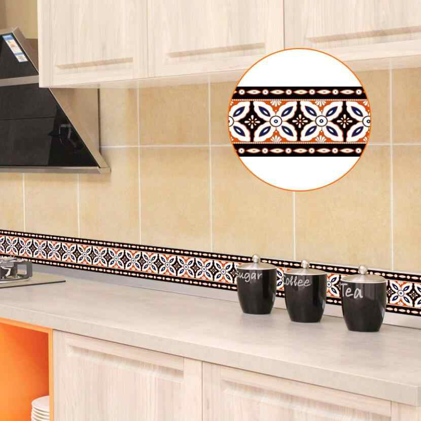 Classic Kitchen Bathroom Wallpaper Borders Tile Decoration Waist Line  Stickers Vintage diy Home Furniture Bedroom Sticker EZ068