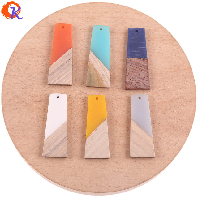Cordial Design 30Pcs 19*49MM Jewelry Accessories/Hand Made/DIY Making/Trapezoid Shape/Natural Wood With Resin/Earring Findings