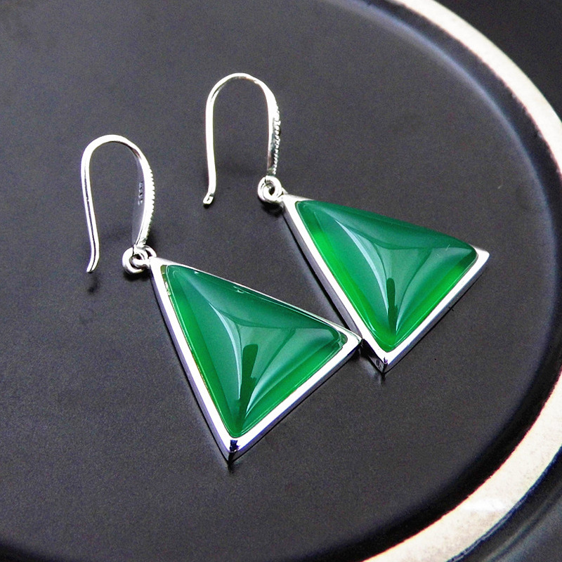 FNJ 925 Silver Triangle Earrings for Women Jewelry Yellow Green Red Stone S925 Sterling Silver boucle d'oreille Drop Earring