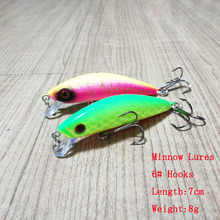 Bimmor 1pcs/lot Fishing Lures 7cm/8g Japan Minnow Plastic Hard Jerkbaits 6# Hooks Wobbler Baits Swimbaits