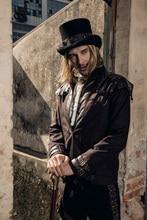 RQ Steampunk Gothic Style Men Winter Coat With Zipper Long Sleeve Rivet Jacke Stand Neck Regular Woolen Jacket Buckle