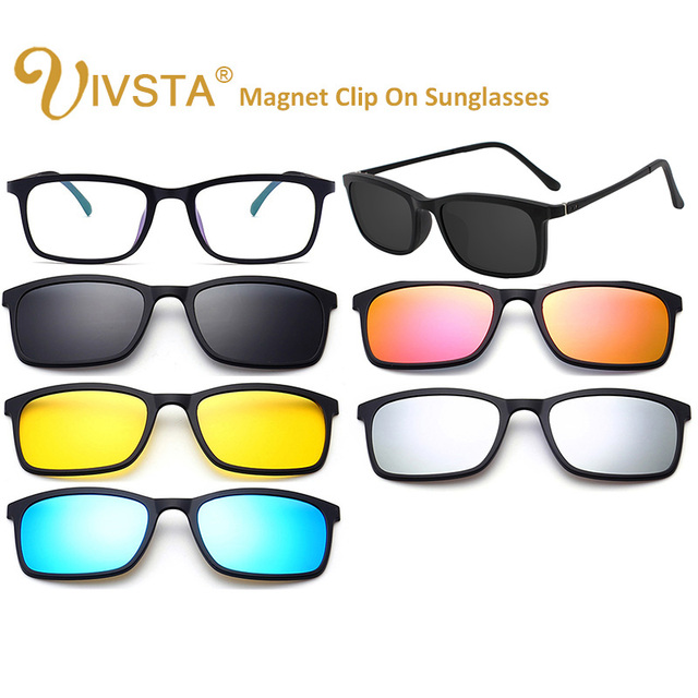 c535d8576d IVSTA Ultra-light Polarized Clip On Sunglasses Men Women Magnetic Glasses  Magnets TR90 Optical Frame