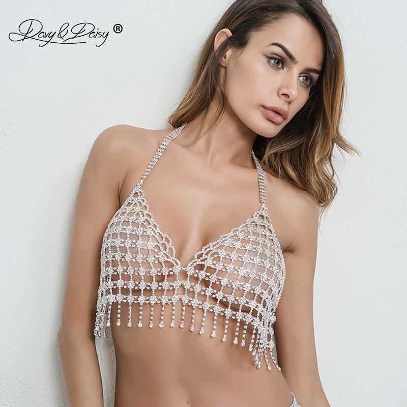 DAVYDAISY נשים סקסי חזיית שרשרת ריינסטון קריסטל Bralette ציצית אינטימי סקסי הלבשה תחתונה יבול למעלה ארוטי חזיות BR003