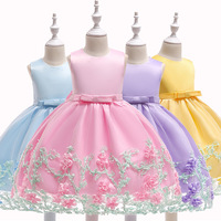 2018 new christmas Pink Floral Newborn Kids Baby Girl Princess birthday Party Bowknot Fashion Sweet Summer Pageant Dress Clothes
