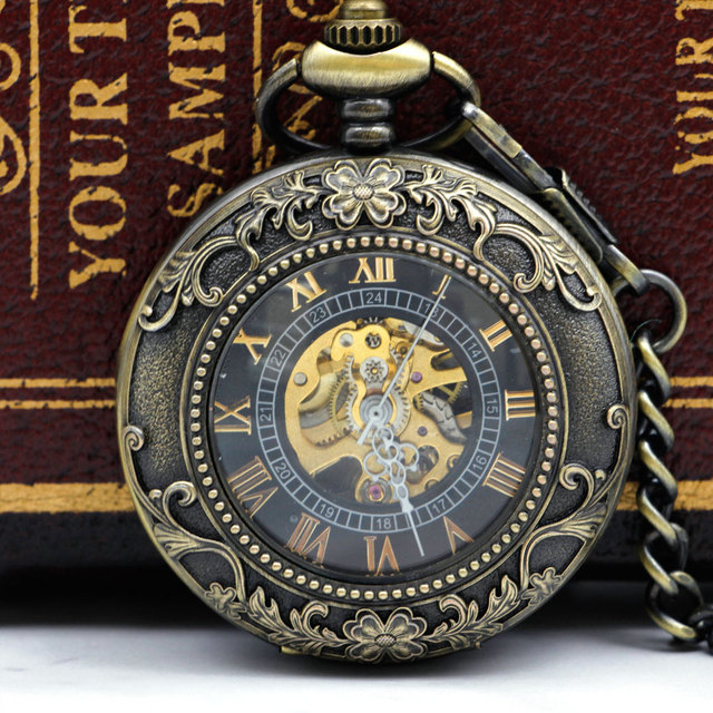 Fashion Luxury Casual Steampunk Antique Skeleton Mechanical Pocket Watch Chain Necklace Pocket & Fob Watches For Men PJX052