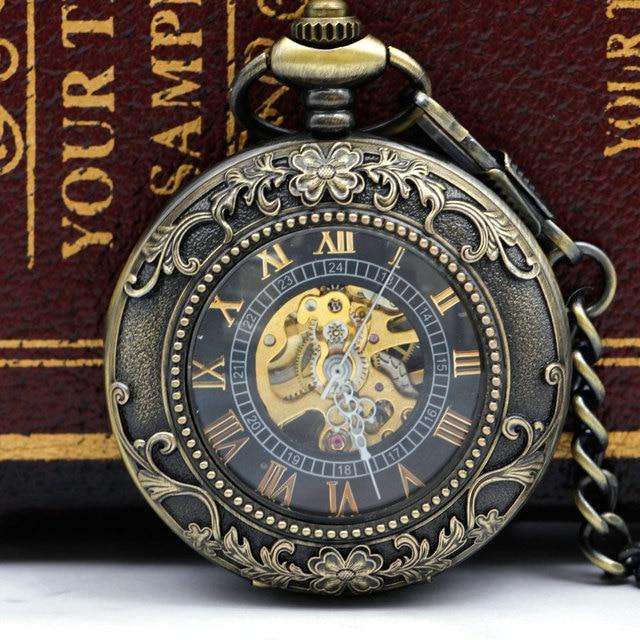 Steampunk כיס שעון כיס מכאני שעונים Flip שעון שרשרת רטרו שלד בציר כיס Fob שרשרת Dropshipping PJX052