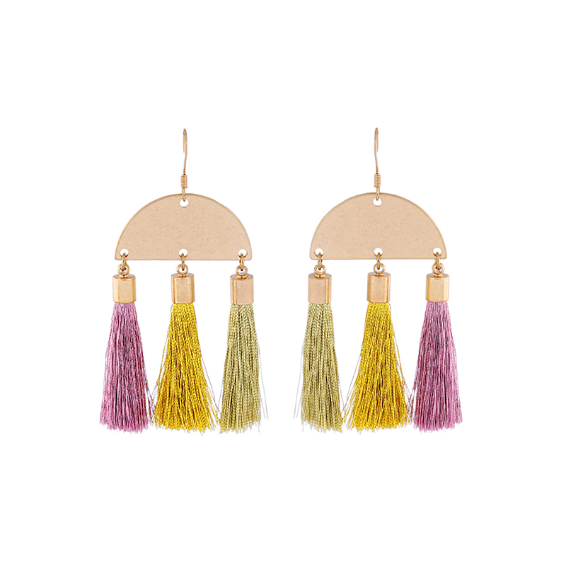 Colorful Created Silk Thread Tassel Fringe Earrings 2017