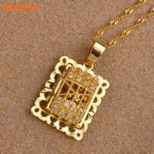 Anniyo Ethiopian Pendant & Necklaces With Cubic Zirconia for Women Gold Color Africa CZ Party Jewelry Birthday Gifts #001914(China)