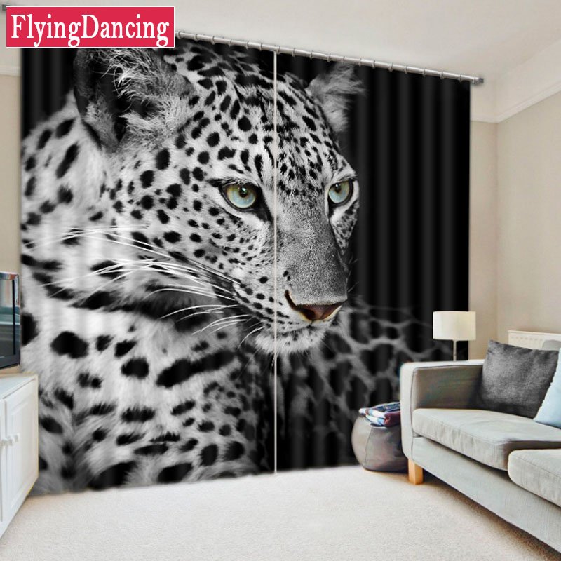 3D Curtains For Luxury Bed Room White Black Leopard Printed Blackout Kids Living Child Window Drapes