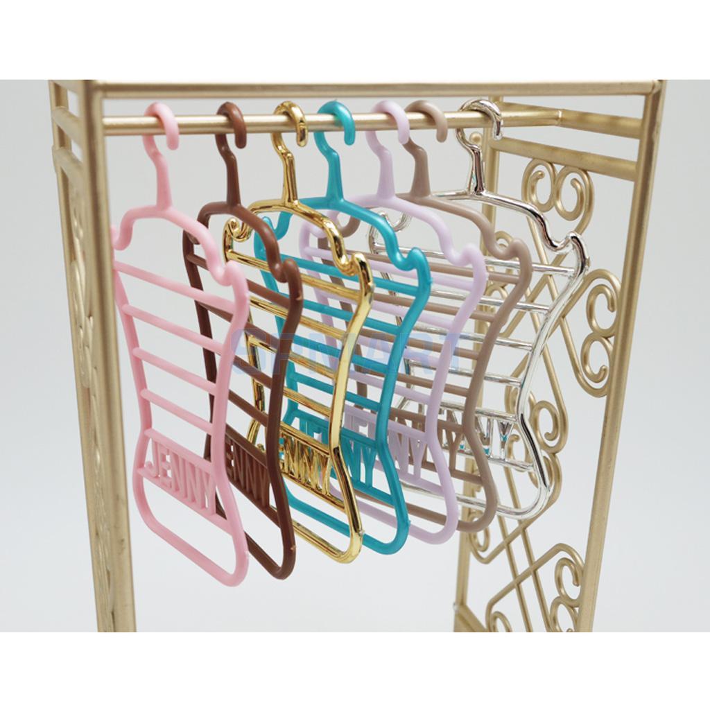 10Pcs Doll Clothes Bowknot Hanger Coat Dress Holder Children Plastic Mini Toy