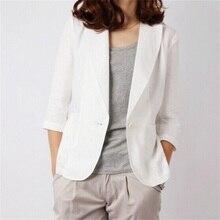 cotton Linen Blazer Feminino 2018 Slim Short Suit B