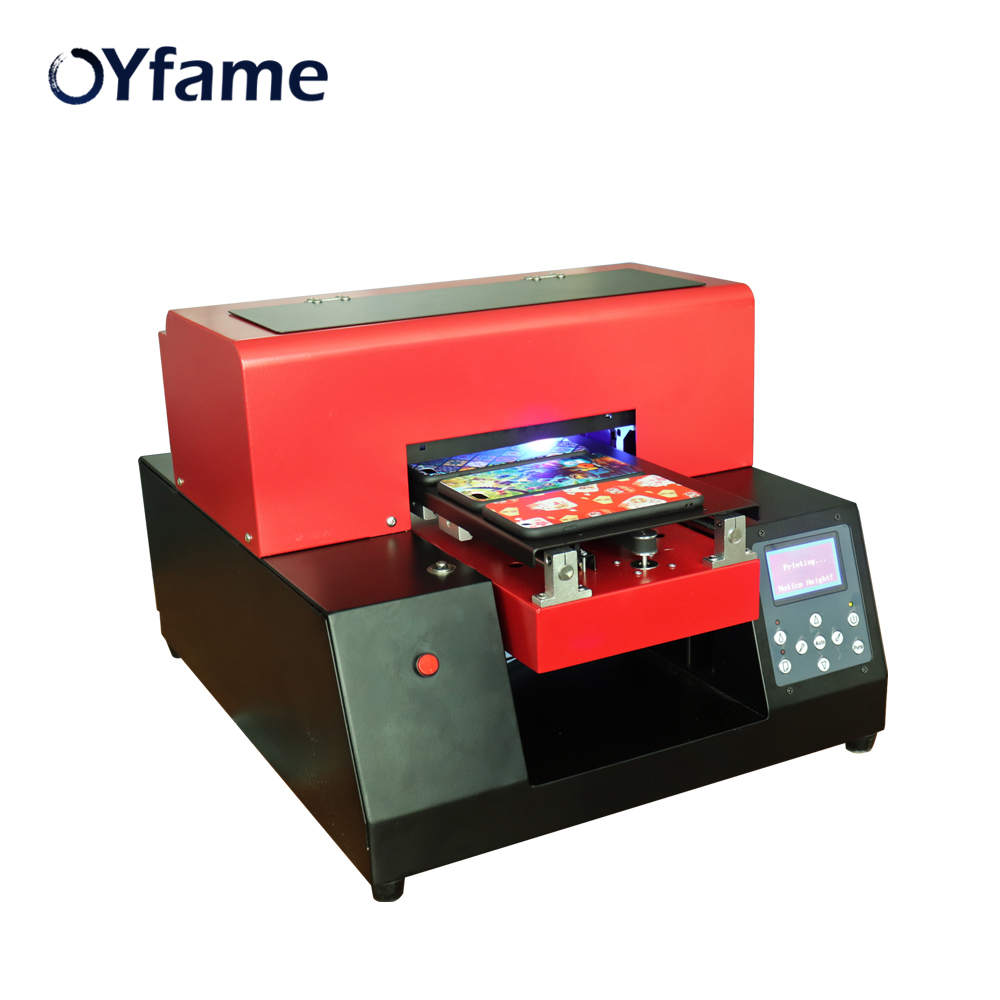 OYfame Automatic A4 UV Printer Phone Cover UV Flatbed Printing Machine For Phone Case Metal Leather Acrylic Printing