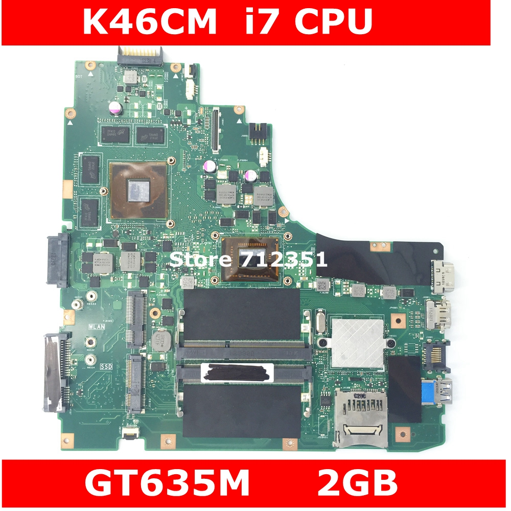 <font><b>K46CM</b></font> W/i7 CPU GT635M 2GB Mainboard REV 2.0 For ASUS <font><b>K46CM</b></font> K46CB S46C A46C A46CM Laptop Motherboard 100% Tested Free Shipping image