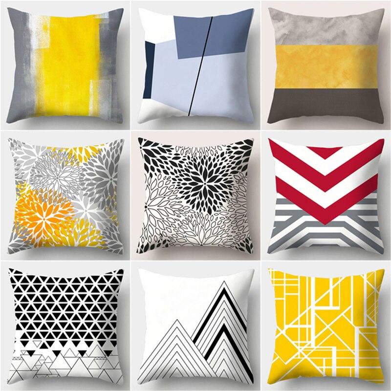 2019 Europeu padrão geométrico poliéster impresso fronha sofá capa de almofada amarelo cobre escritório lombar fronha da cama casa