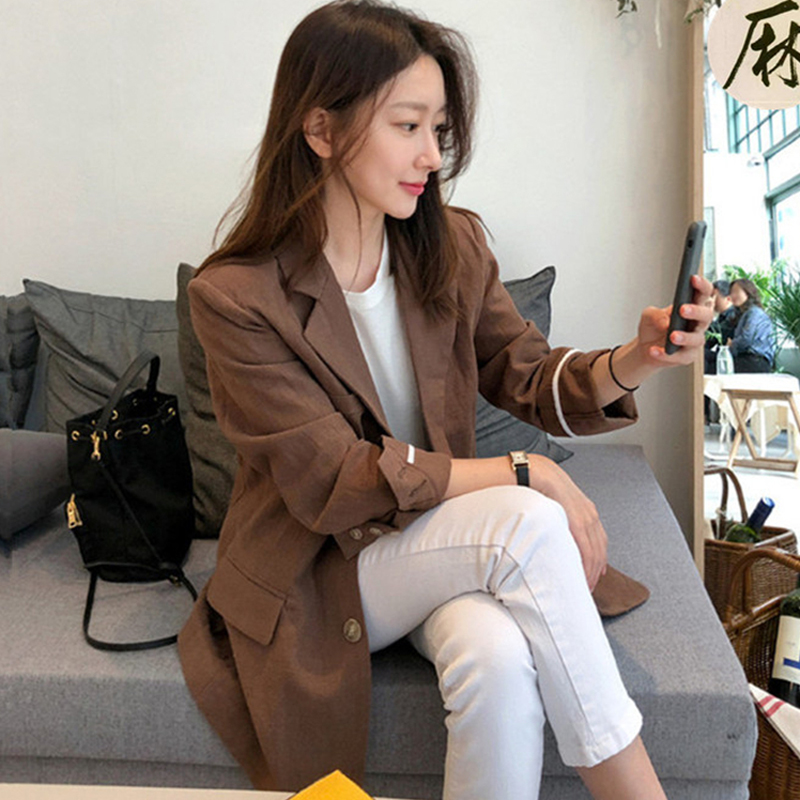 Female Jacket Work Blazer Women's Linen Feminino Casual Cotton Single-Breasted And Solid