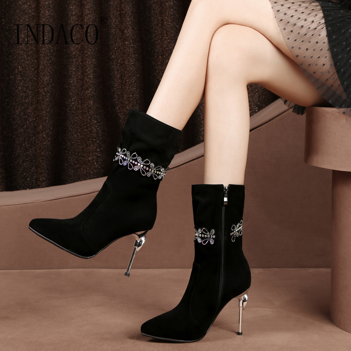2018 New Fashion Leather Thigh High Boots Rhinestone High Heel Winter Shoes Women Warm Big Size