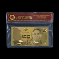 Normal Color Thailand Gold Banknote 20 Baht For Gold Foil With COAPVC Frame Gifts Collection
