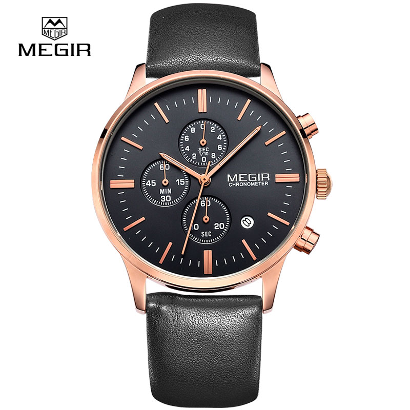 MEGIR hot fashion leather quartz watch man luminous chronograph wristwatch male casual analog watches men calendar hour clock цена