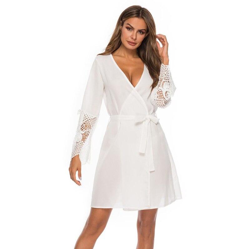 2019 New Silk Kimono Robe Bathrobe Women Silk Bridesmaid Robes Sexy White Robes Satin Robe Ladies Dressing Gowns