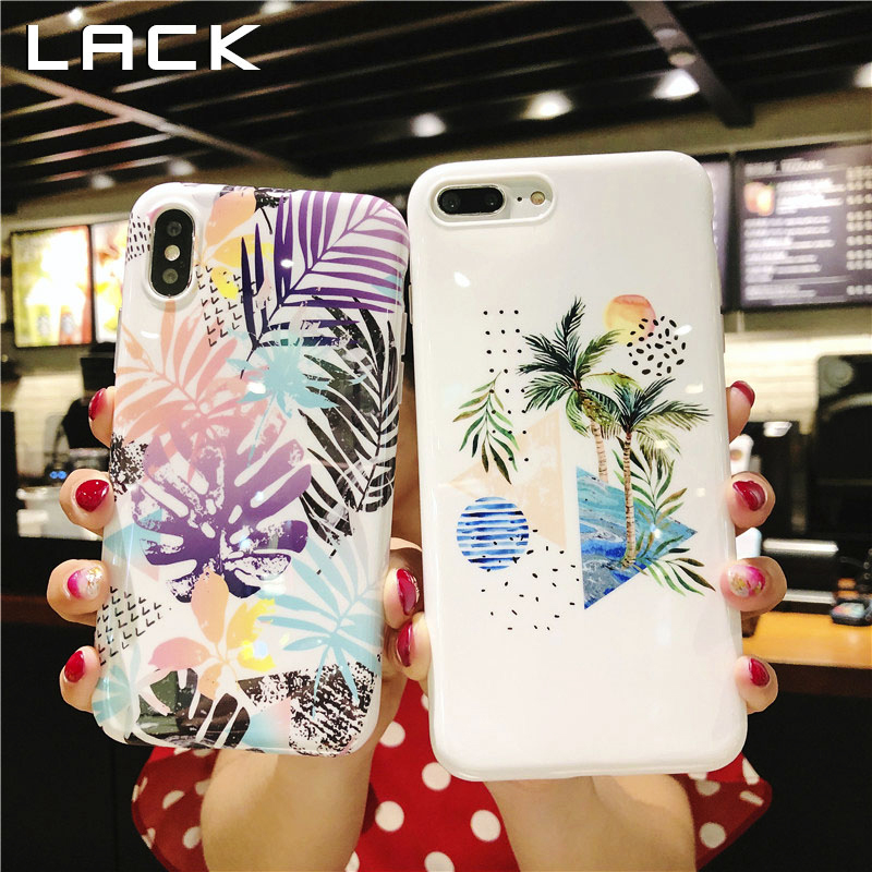 LACK Banana Leaf Phone Case For iphone X Case For iphone 6 6S 7 8 Plus Back Cover Summer Cool Cocos Cases Soft IMD Fundas Coque