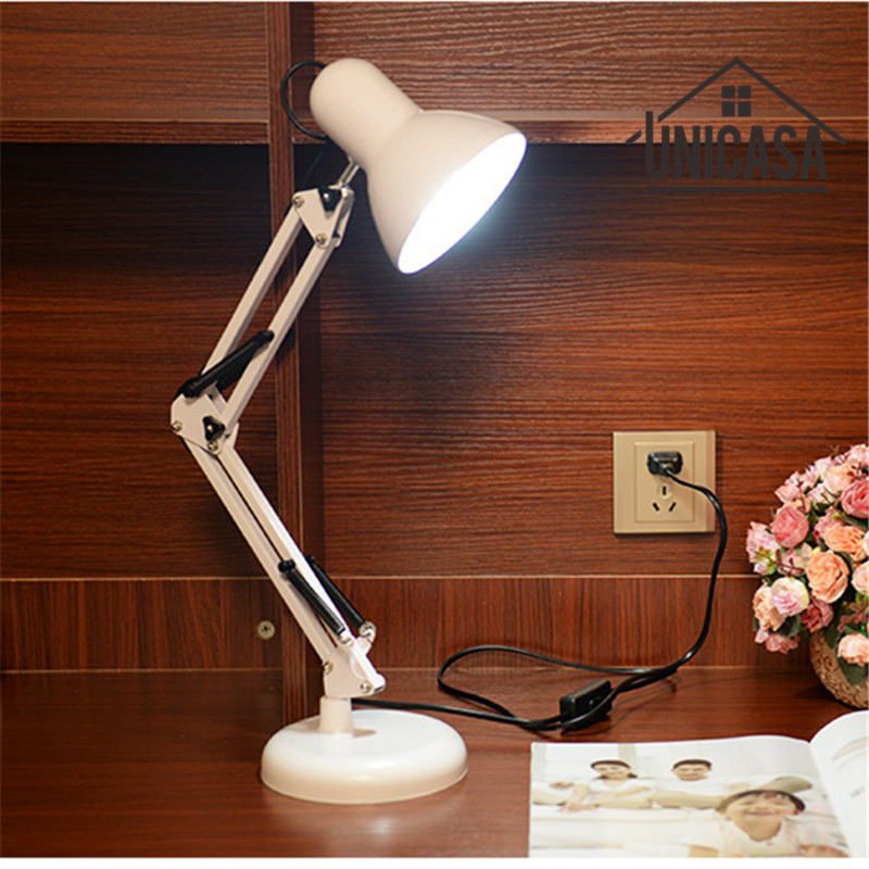 White Desk Lamps Adjustable Clip Table Lights Bedside Desktop LED Table Lamp Bedroom Office Light Libraly Industrial Lighting modern industrial style table lamps lights for bedroom bedside folding desk lamp clip dimmer led light clamp lampshade abajur