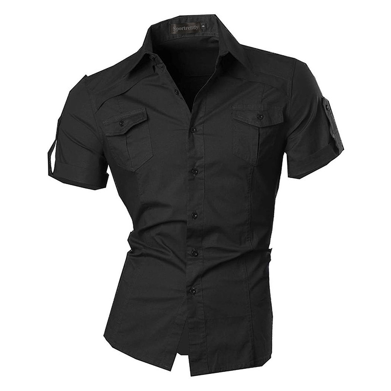 595fd85e88c Sportrendy Men s Designer Military Slim Fit Dress Shirt Casual Short Sleeve  Shirts Tops JZS055-in Casual Shirts from Men s Clothing on Aliexpress.com  ...