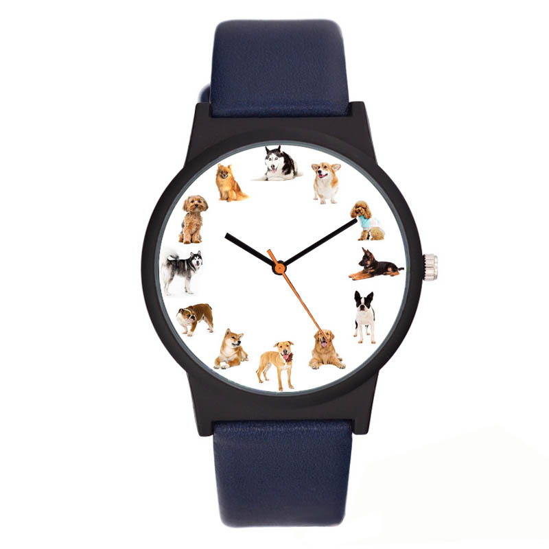 A3309 lovely dog watch animal printed leather casual quartz women creative watches ladies wristwatch cartoon animal quartz women watch