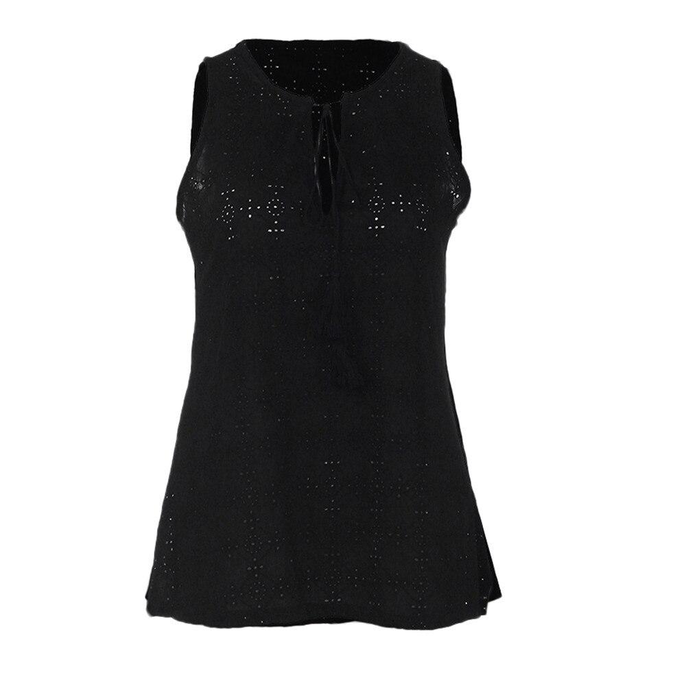 2019 Neuestes Design Frauen Komfort Baumwolle Rundhals Pullover Pullover Einfarbig T-shirt Sleeveless Beiläufige Hemd Modernes Design