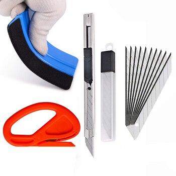 EHDIS 4 sztuk/partia naklejki pojazdu narzędzia instalacyjne zestaw czuł ściągaczki skrobak Vinyl Car Wrap Film kuter nóż Car Styling narzędzie
