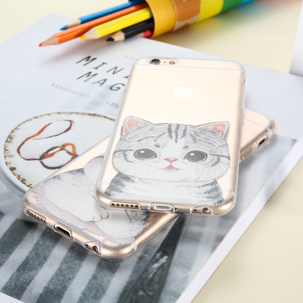 KISSCASE Cat Cartoon Case For iPhone 5 5s SE Cute Husky Silicone Cover For iPhone 6 6s 7 8 Plus Soft Patterned Back Shell Coque in Fitted Cases from Cellphones Telecommunications