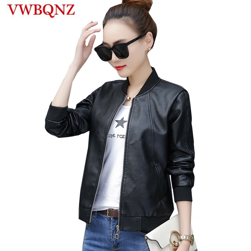 Plus size 4XL Women Pu   leather   Jacket Short Coat Spring Autumn Slim Faux   Leather   Jacket Black Casual Motorcycle   Leather   Jackets