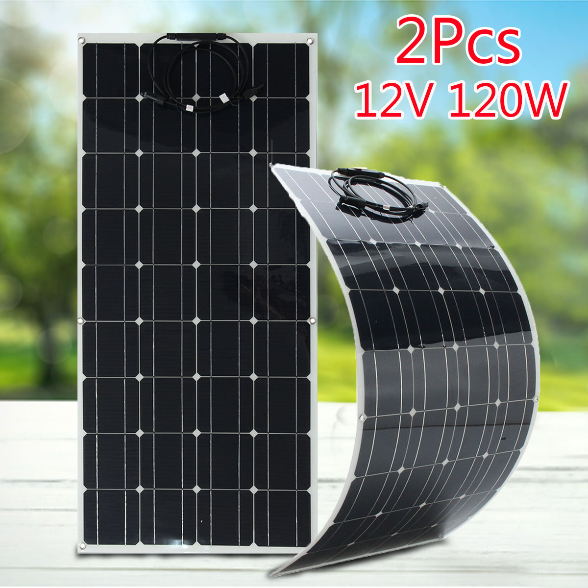 2Pcs 120W 12V Solar Panel Charger Flexible Monocrystalline Solar Cells Module Kit 12V Car Battery Charger For Outdoor Camping цена и фото