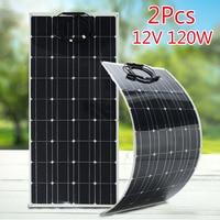2Pcs 120W 12V Solar Panel Charger Flexible Monocrystalline Solar Cells Module Kit 12V Car Battery Charger For Outdoor Camping