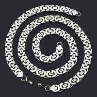 Fashion Jewelry Sets Gift Set High Quality 316L Stainless Steel Silver Byzantine Necklace Bracelet Hip Hop