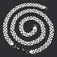 Fashion Jewelry Sets Gift Set High Quality 316L Stainless Steel Silver Byzantine Necklace Bracelet Hip Hop