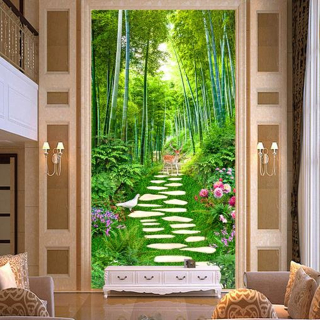 Green Bamboo Ladder Photo Wall Murals 3D Nature Wallpapers for Living Room  Hallway Background Walls Papers Home Decor Trees Bird